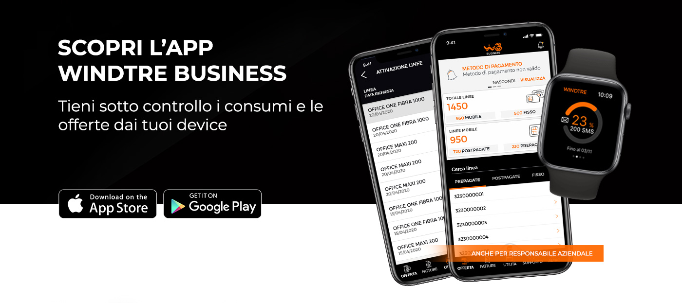 App Wind Tre Business - assistenza | Wind Tre Business